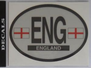 England Country Flag Oval Decal.